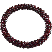 Natural Pyrope Garnet Torsade Style Bangle Bracelet