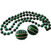 Estate 14K Gold Malachite Estate Necklace &  Dome Pierced Earrings Ensemble