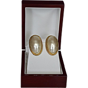 Givenchy  14K Gold Plate Faux Pearl Dome Earrings