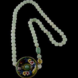 "Vintage Chinese 30"" Long Jade / Cloisonne Pendant Necklace"