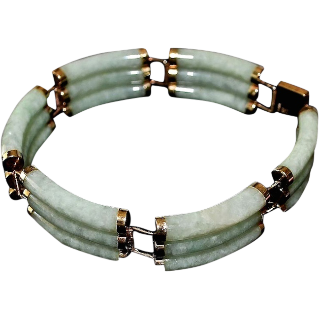 Asian 14k Gold Triple Jadeite Celadon Bar Link Bracelet