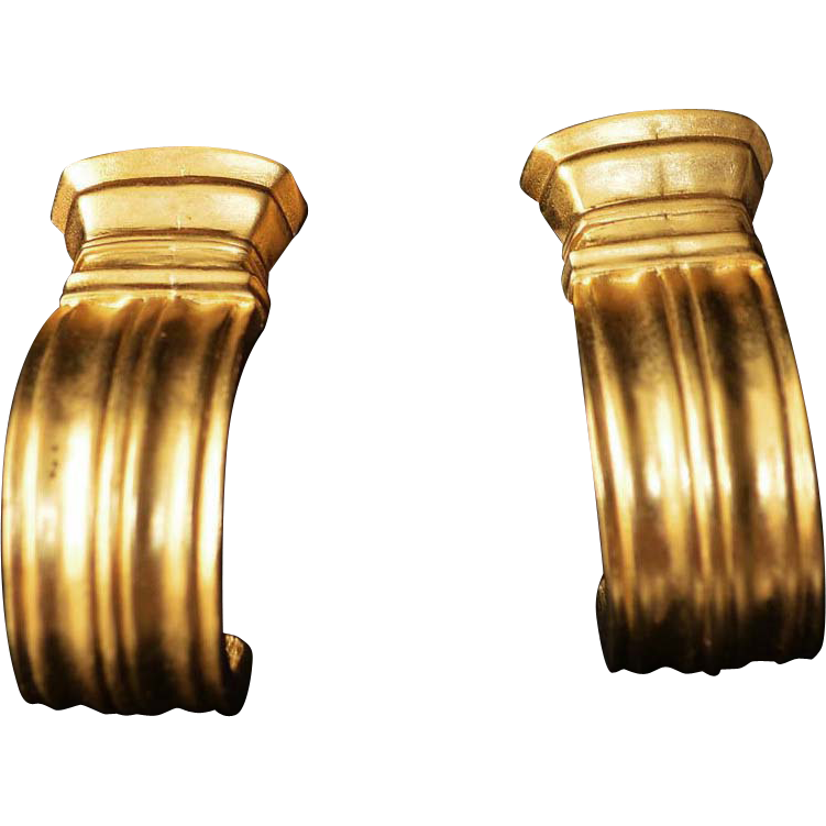 Karl Lagerfeld Classical Doric Gold Plate Earrings