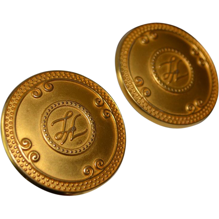 Lagerfeld Large Iconic 18K Gold Plate Button Earrings