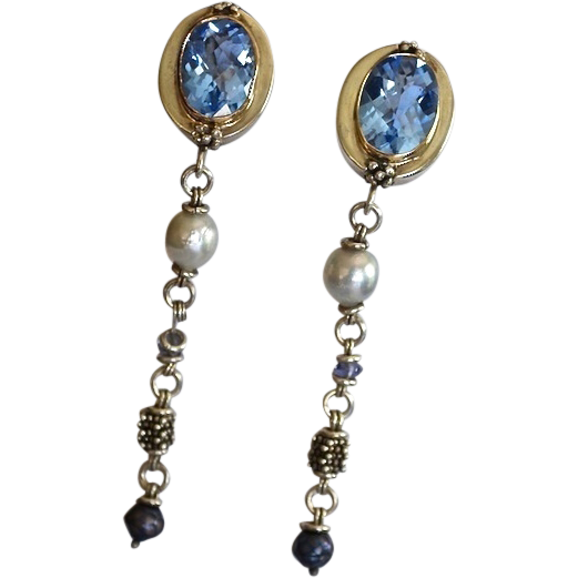 Michael Dawkins Faceted Quartz Evening Earrings