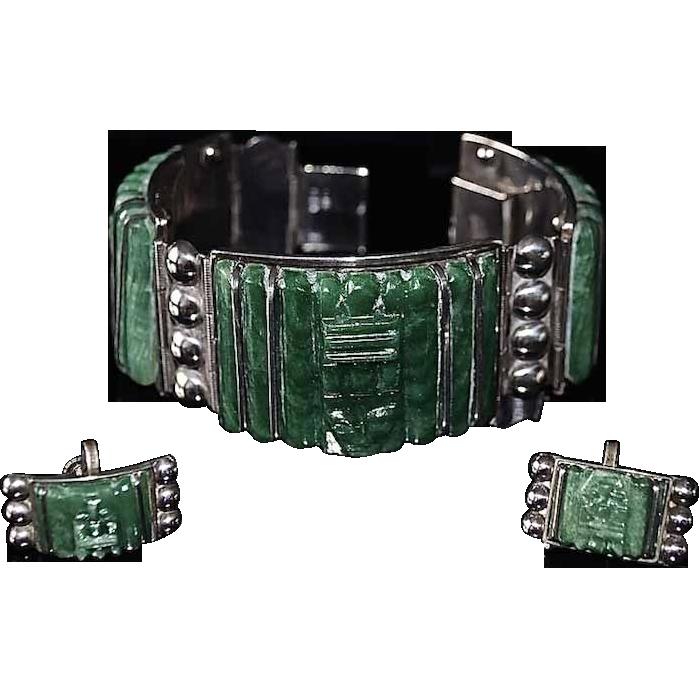 Vintage Mayan Face Carved Panel Mexican Jade Bracelet & Earrings