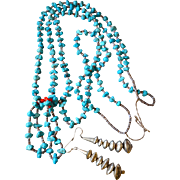 Southwestern Pueblo Turquoise Double Strand Joclas Nugget Necklace