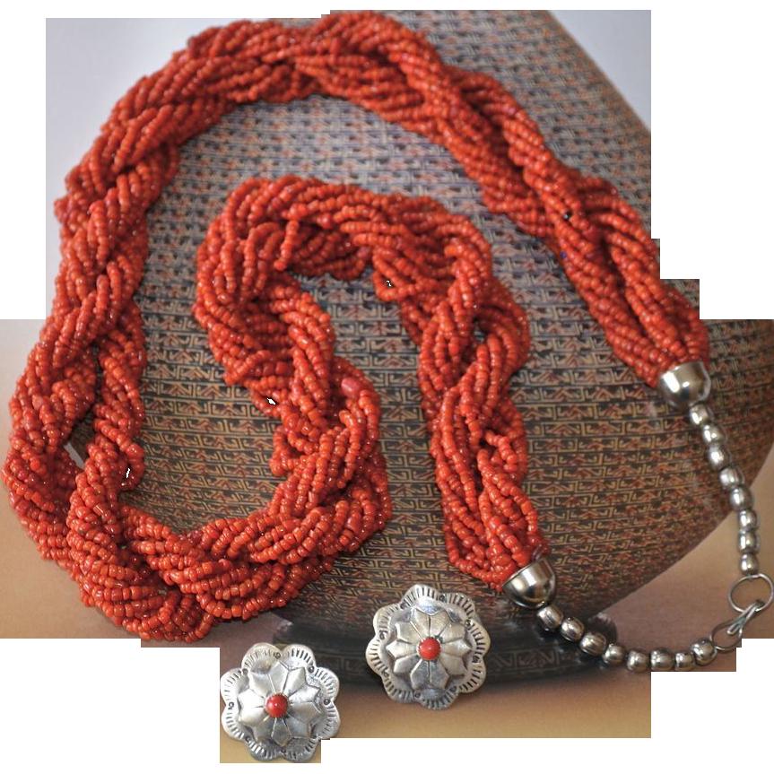 Vintage Southwestern Torsade Trade Bead Necklace From