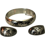 Elegant Asian Sterling Silver Niello Bangle Bracelet & Earrings