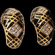 Nina Ricci 10kt Gold Plate Black Crystal J-Hoop Earrings