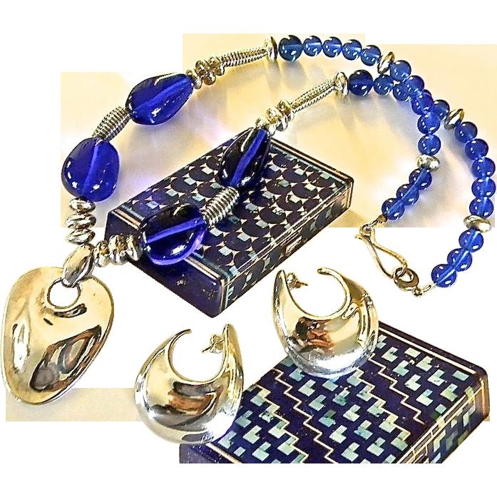 Modernist Robert Lee Morris Rock Crystal Sterling Art Wear Necklace Set