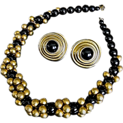 Vintage Donna Karan 18K Gold Plate Onyx Necklace Earrings