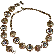 50's Schiaparelli Aura Borealis Chaton Cut Rhinestone Ribbed Necklace Set