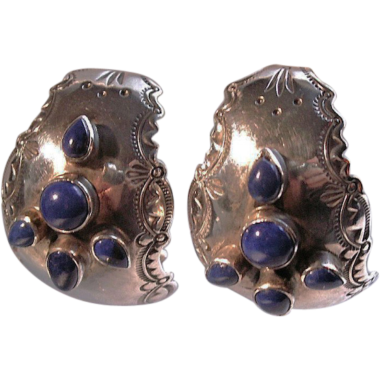 Old Mexican Etched Lapis Scroll Hoop Earrings