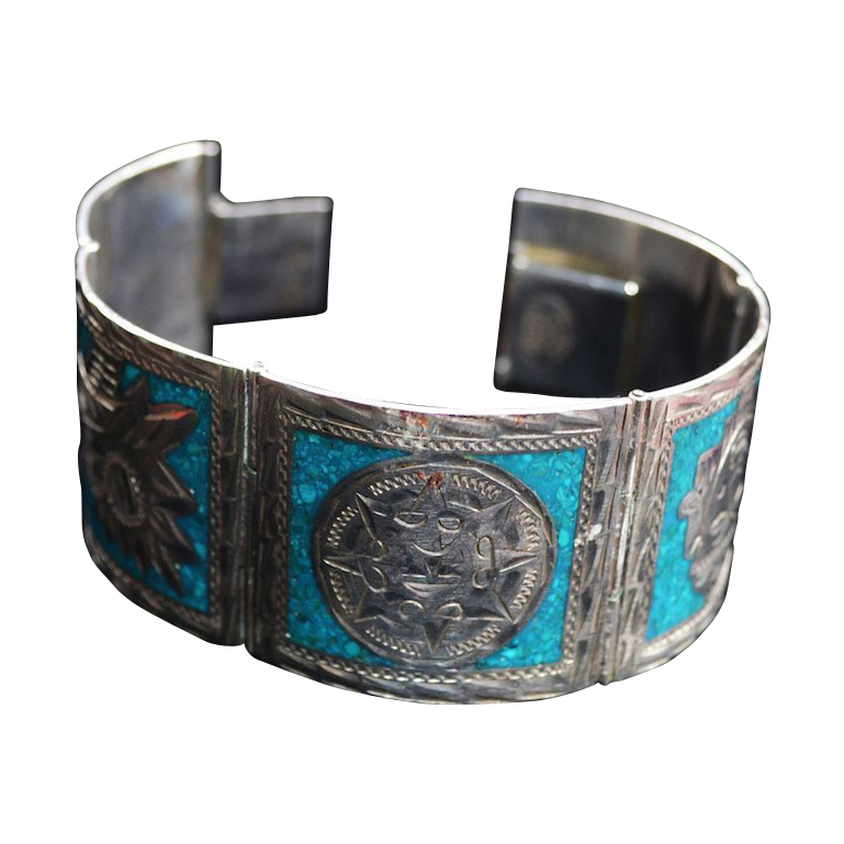 Sterling Aztec Motif with Turquoise Chip Inlay Bracelet