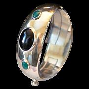 Taxco Mexico Sterling Bezel Set Gemstone Bracelet