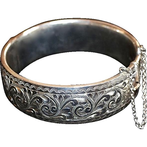Georg Jensen Sterling Silver Etched Floral Bracelet