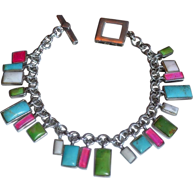 Modernist Sterling  Multi-Gemstone Charm Bracelet