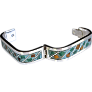 Rare Mexican Sterling Silver Enamel Inlay Cuff Bracelet