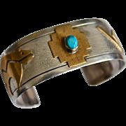 Native Southwestern Sterling Silver Brass Overlay Cuff Bracelet