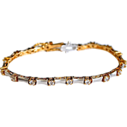 Fancy Brush Sterling 18K Gold Plate CZ Tennis Bracelet