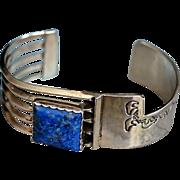 Sterling Southwestern Lapis Gemstone Cuff Bracelet