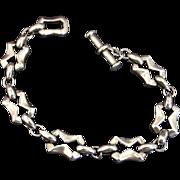 Modernist Sterling Silver Razor Style Link Bracelet