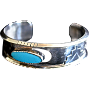Southwestern Sterling Silver Cuff Bracelet Center Natural Turquoise Oval Stone
