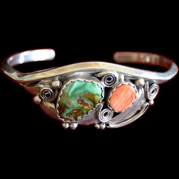 Navajo Artist Justin Morris Sterling Silver Gemstone Cuff Bracelet