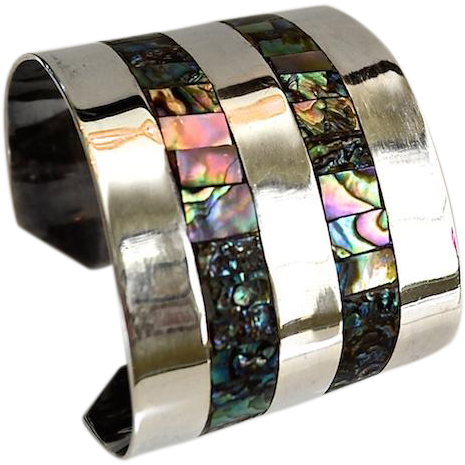 Mexico Serling Wide Cuff Abalone Shell & Sterling Bracelet