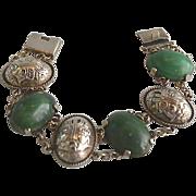 Sterling Silver Mexican Jade Onyx Link Panel Bracelet