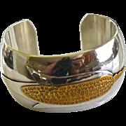 Heavy Sterling Sliver Brass Artisan Cornflower Cuff Bracelet