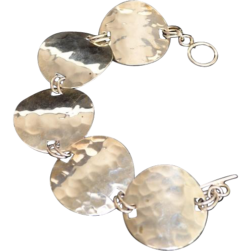 Hammered Sterling Silver Disc Toggle Link Bracelet