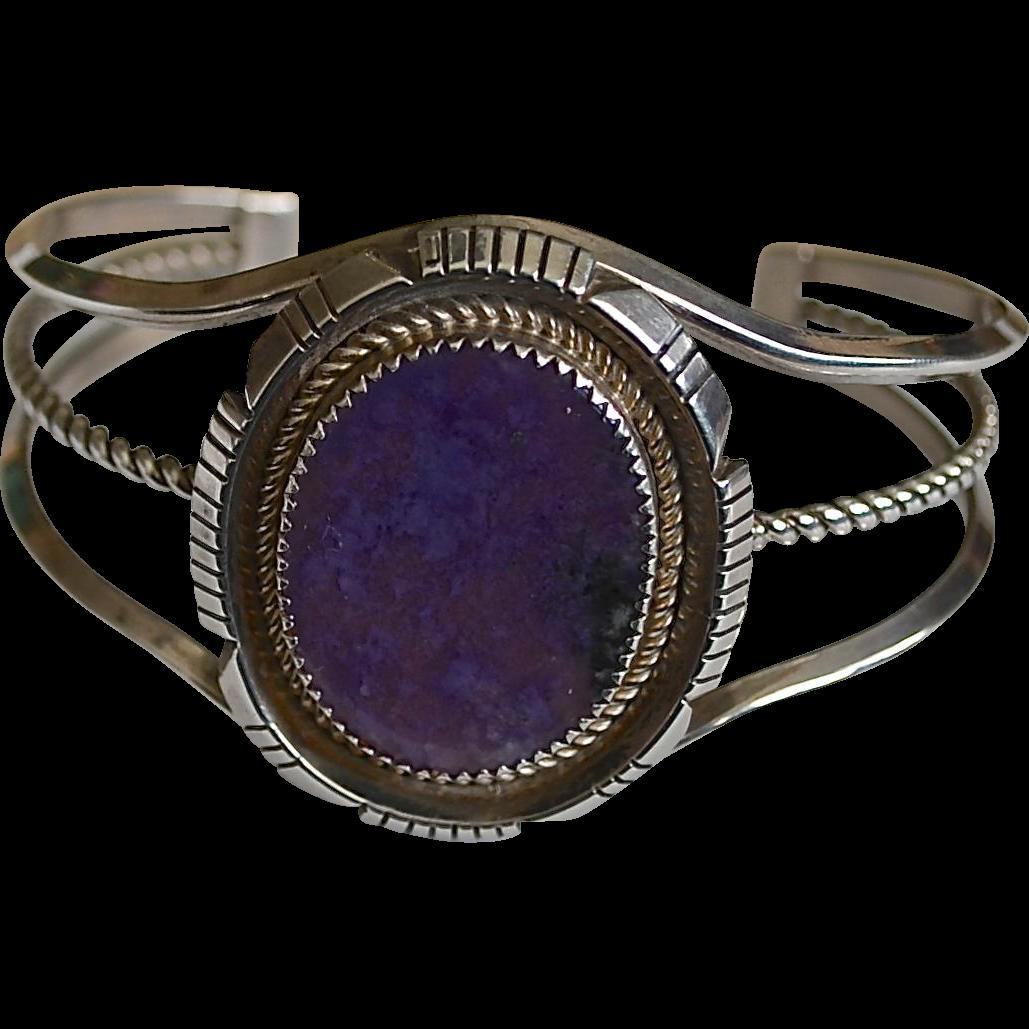 Southwestern Sterling Silver Sugilite Oval Medallion Cuff Bracelet