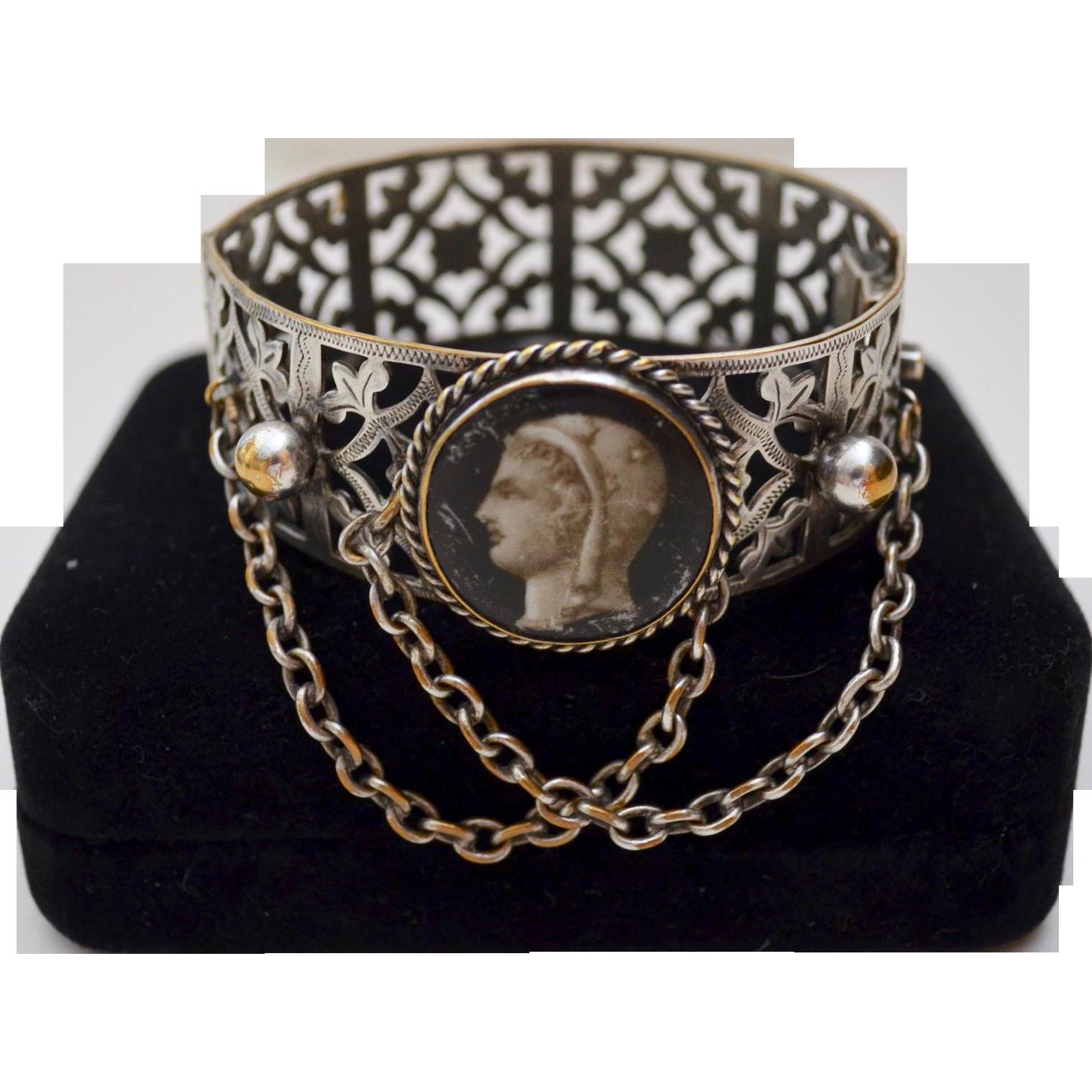 """République France Silver Plate """"La Marianne"""" Porcelain Cameo Portrait Bracelet"""