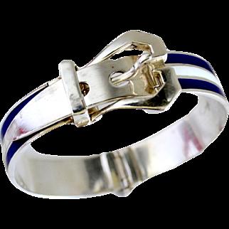 1970's Gucci Style Sterling Silver Enamel Stripe Buckle Bracelet