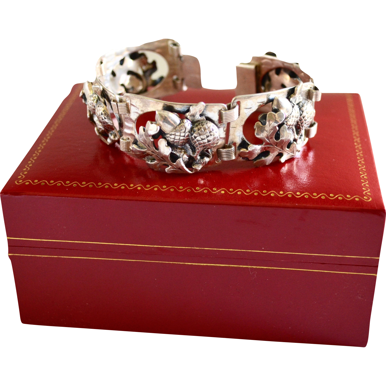 50's Napier Sterling Silver Art Nouveau Style Link Bracelet