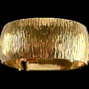 """Italian 18kt Gold Plate Bronze 1-1/4"""" Wide Cuff Bracelet"""