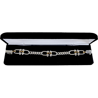 Sterling Silver Figaro Chain With Dual Horsebit Equestrian Accent Bracelet