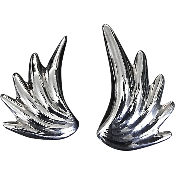 Flirtatious Diva Sterling Silver Wing Earrings