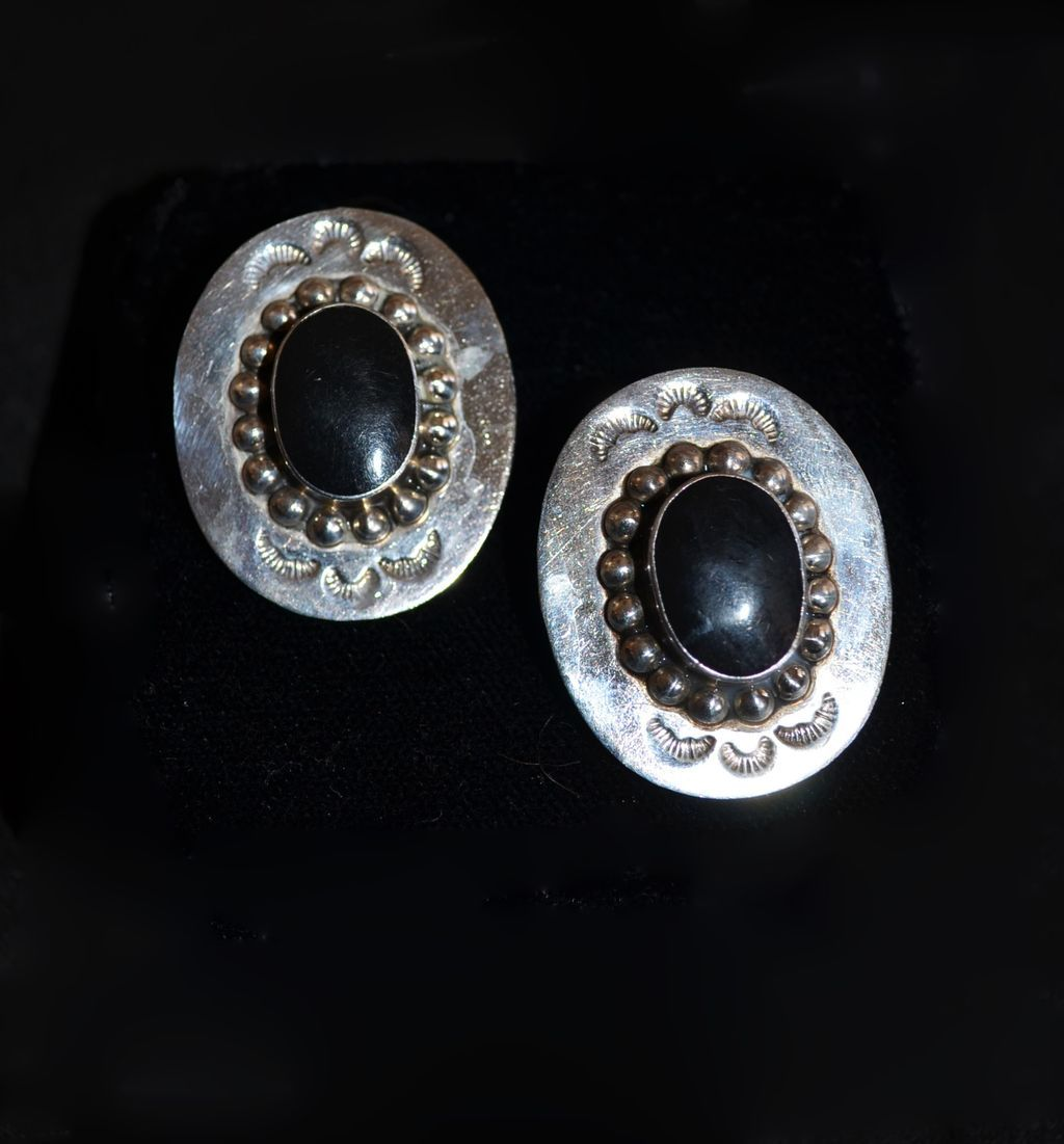 Sterling Mexico Custom Sombero Onyx Earrings