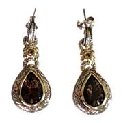 Topaz Tear Drop 14kt Gold & Sterling Pendant Earrings