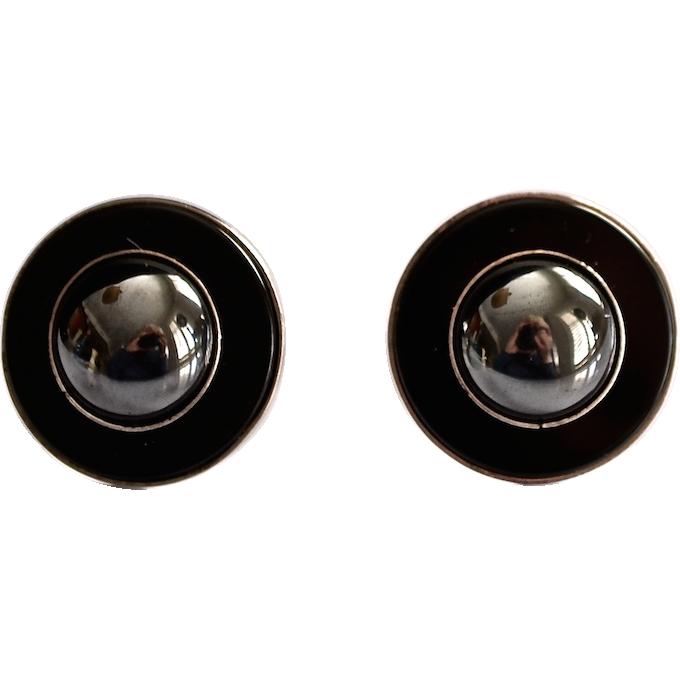 Deco Style Sterling Black Onyx Hematite Sterling Earrings