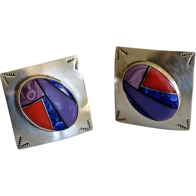 Sterling Modernist Inlaid Gemstone Earrings