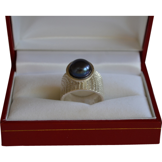 Modernist Artisan Sterling Silver Saltwater Pearl Ring