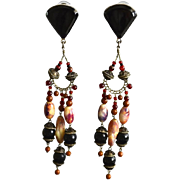 Mexico Sterling Silver Onyx Natural Stone Chandelier Earrings