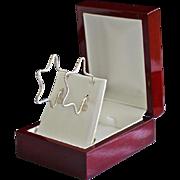 Jumbo Sterling Silver Diamond Etched Open Star Earrings