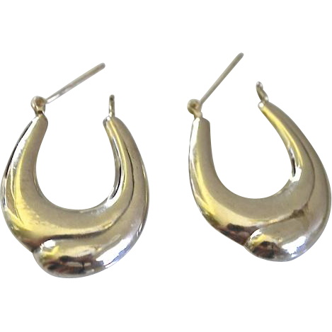 Sterling Silver Pierced Modernist Hoop Earrings