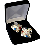 Mexico Sterling Silver Inlaid Square Clip Earrings