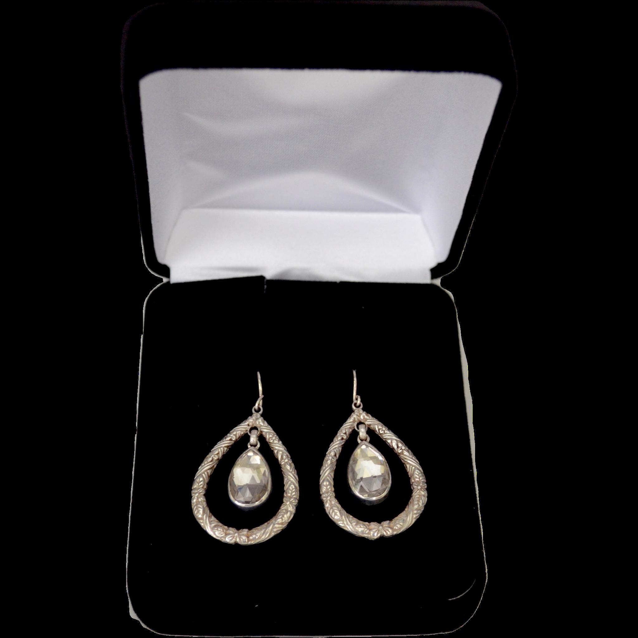 DWECK Sterling Silver Tear Drop Clear Quartz Dangle Earrings