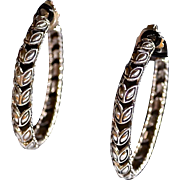 Designer Sterling Silver Laurel Leaf Cut Out Hoop Earrings J HARDY